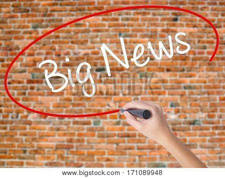Woman Hand Writing Big News With Black Marker On Visual Screen