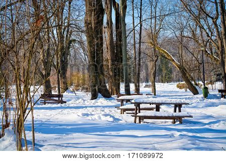 Bench in the park after a snow in Bucharest