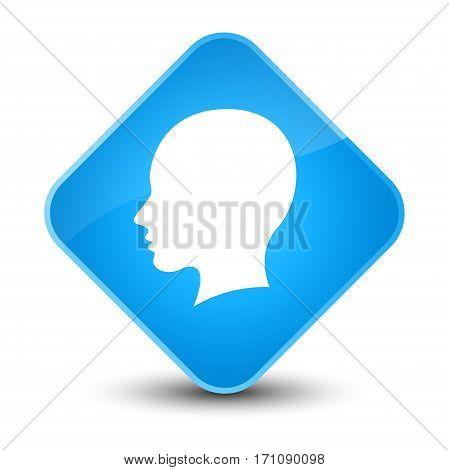 Head Female Face Icon Special Cyan Blue Diamond Button