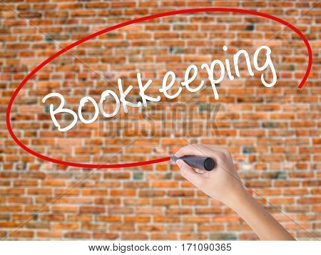 Woman Hand Writing Bookkeeping With Black Marker On Visual Screen.