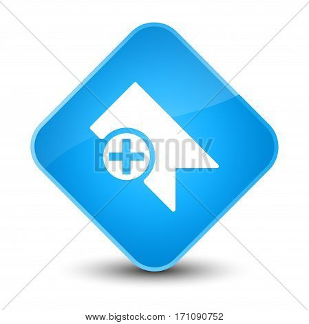 Bookmark Icon Special Cyan Blue Diamond Button
