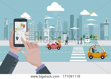 Man's hands with a smart phone with a location app. Roads with autonomous driverless cars and people walking on the street. In the background skyline skyscrapers.
