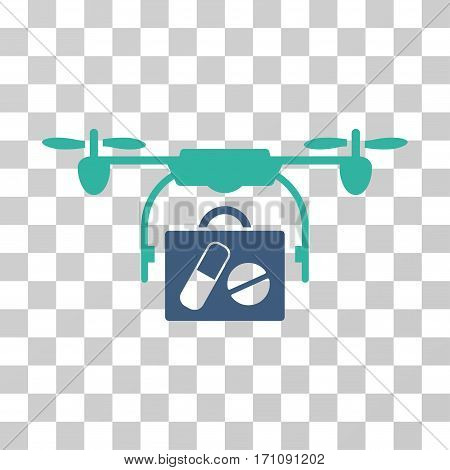 Airdrone Pharmacy Delivery icon. Vector illustration style is flat iconic bicolor symbol cobalt and cyan colors transparent background. Designed for web and software interfaces.