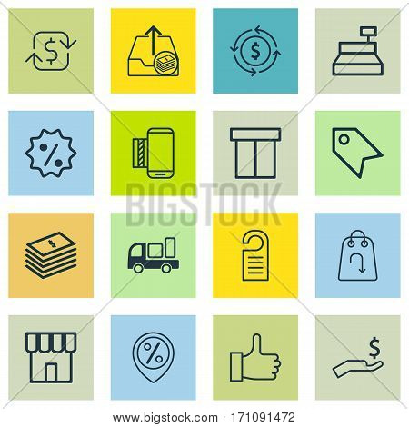 Set Of 16 Commerce Icons. Includes Price, Discount Location, Price Stamp And Other Symbols. Beautiful Design Elements.