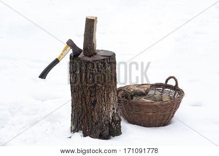 Ax Wood Firewood Stump