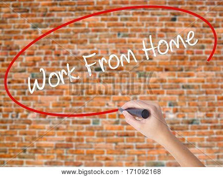 Woman Hand Writing Work From Home With Black Marker On Visual Screen