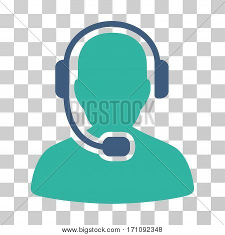 Call Center Operator icon. Vector illustration style is flat iconic bicolor symbol cobalt and cyan colors transparent background. Designed for web and software interfaces.