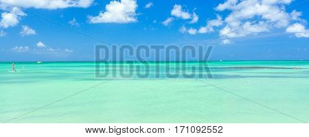 Caribbean sea on Aruba island. View from the beach