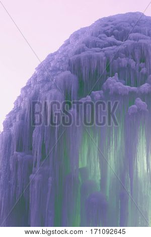 the a frozen blocks of ice stalactites