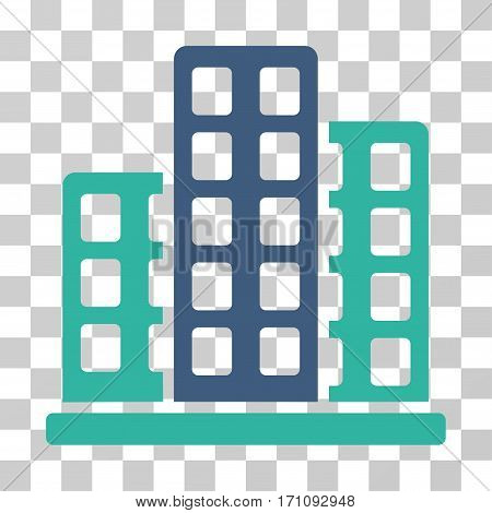 City icon. Vector illustration style is flat iconic bicolor symbol cobalt and cyan colors transparent background. Designed for web and software interfaces.
