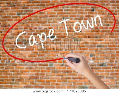 Woman Hand Writing Cape Town With Black Marker On Visual Screen