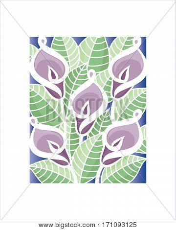 Vector illustration of callas lilies. Template for prints wedding invitation, greeting cards etc.