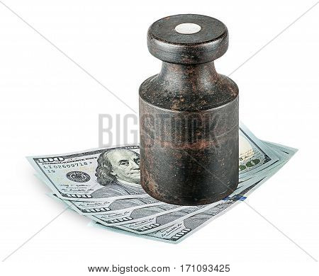 Banknotes clamped old rusty weights isolated on white background