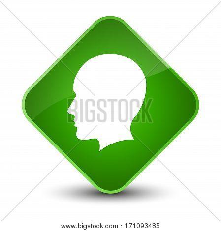 Head Men Face Icon Special Green Diamond Button