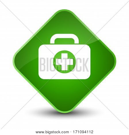 First Aid Kit Bag Icon Special Green Diamond Button