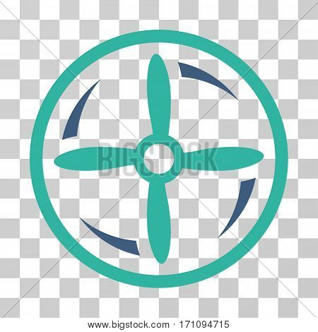 Drone Screw Rotation icon. Vector illustration style is flat iconic bicolor symbol cobalt and cyan colors transparent background. Designed for web and software interfaces.