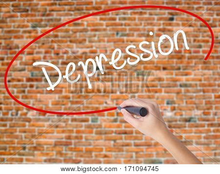 Woman Hand Writing Depression  With Black Marker On Visual Screen