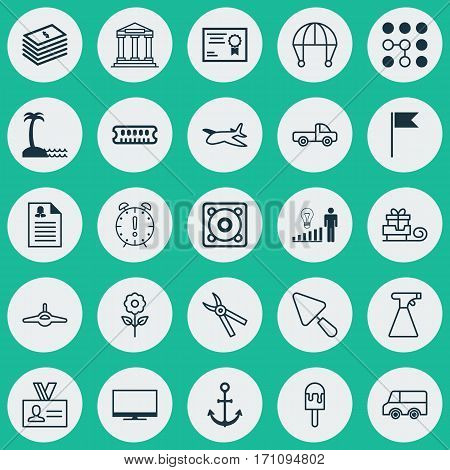 Set Of 25 Universal Editable Icons. Can Be Used For Web, Mobile And App Design. Includes Elements Such As Skydive, Decision Making, Sprinkler And More.