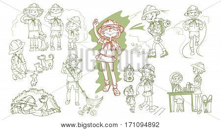 Hand drawn scout teenagers set with different types of volunteering activity isolated vector illustration