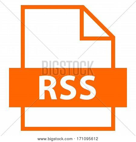 Filename extension icon RSS Rich Site Summary or Really Simple Syndication in flat style. Quick and easy recolorable shape. Vector illustration a graphic element.