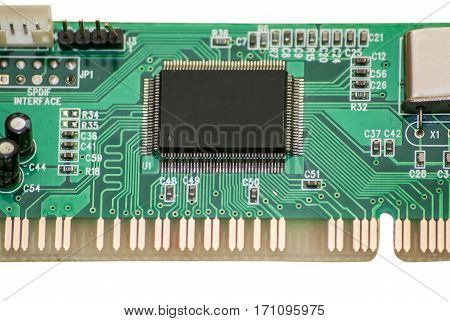 Sound card the chip isolated macro colse Up