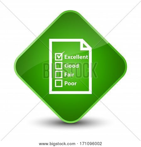Questionnaire Icon Special Green Diamond Button