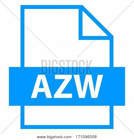 Use it in all your designs. Filename extension icon AZW Amazon Word in flat style. Quick and easy recolorable shape. Vector illustration a graphic element.