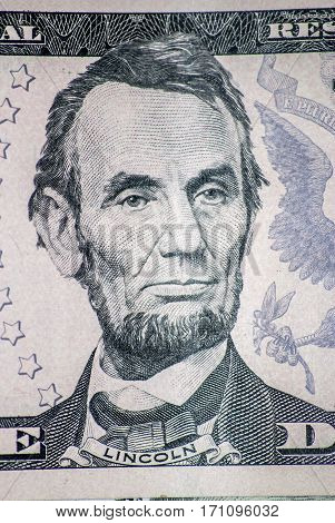 lincoln on five dollar bill macro colse Up