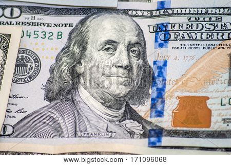Benjamin Franklin on one hundred dollars colse Up