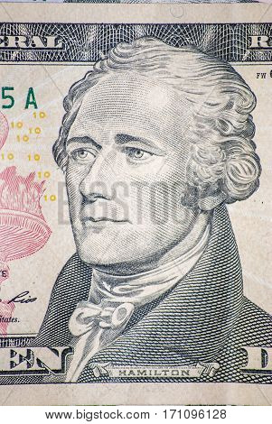 hamilton dollar face close up for background