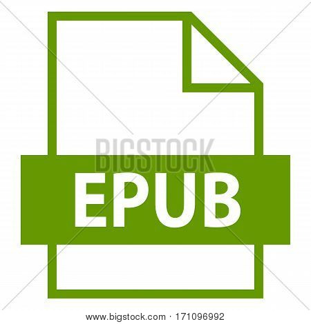 Use it in all your designs. Filename extension icon EPUB electronic publication document in flat style. Quick and easy recolorable shape. Vector illustration a graphic element.