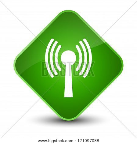 Wlan Network Icon Special Green Diamond Button