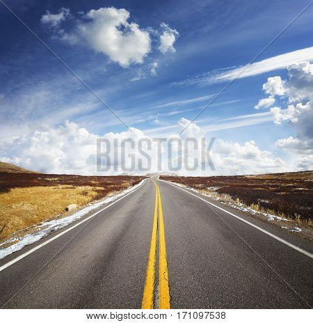 Beautiful Cloudscape Over Mountain Road, Travel Concept Picture.