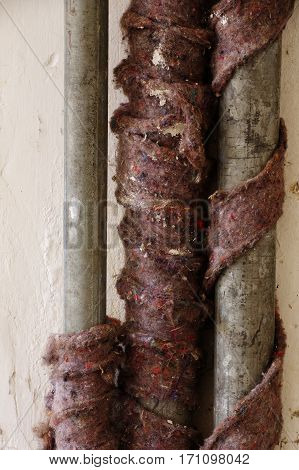 old water pipes insulation detail plumber equipment