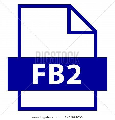Use it in all your designs. Filename extension icon FB2 FictionBook or FeedBook in flat style. Quick and easy recolorable shape. Vector illustration a graphic element.