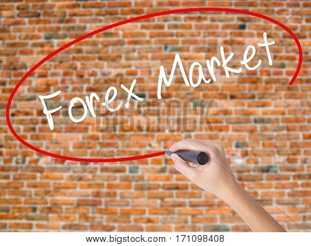 Woman Hand Writing  Forex Market With Black Marker On Visual Screen