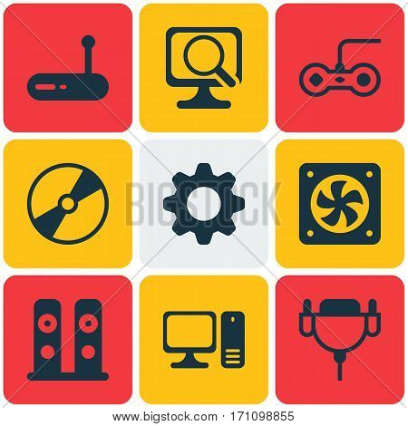 Set Of 9 Computer Hardware Icons. Includes Vga Cord, Cd-Rom, Loudspeakers And Other Symbols. Beautiful Design Elements.