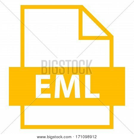 Use it in all your designs. Filename extension icon EML Electronic Mail Format in flat style. Quick and easy recolorable shape. Vector illustration a graphic element.