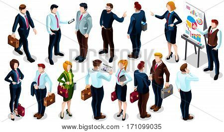 Isolated Group of Diverse Isometric Business People. 3D meeting infograph crowd with standing walking casual people icon set. Conference handshake hand shake lot collection vector illustration
