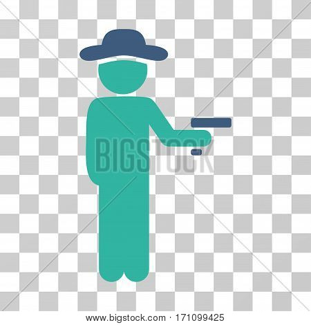 Gentleman Robber icon. Vector illustration style is flat iconic bicolor symbol cobalt and cyan colors transparent background. Designed for web and software interfaces.