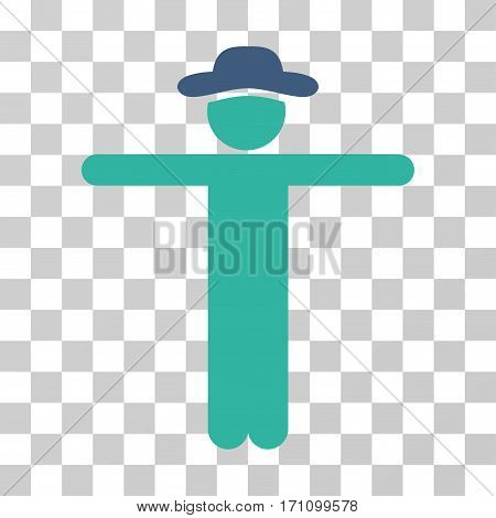 Gentleman Scarescrow icon. Vector illustration style is flat iconic bicolor symbol cobalt and cyan colors transparent background. Designed for web and software interfaces.