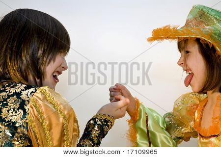 little girls in the carnival clothes