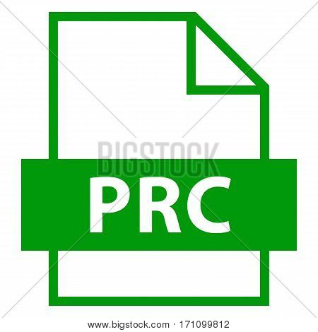 Use it in all your designs. Filename extension icon PRC Product Representation Compact in flat style. Quick and easy recolorable shape. Vector illustration a graphic element.