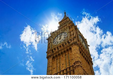 Big Ben London Clock tower close up in UK Thames river