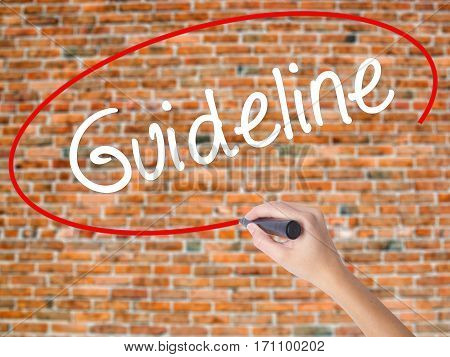 Woman Hand Writing Guideline With Black Marker On Visual Screen