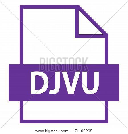 Use it in all your designs. Filename extension icon DJVU file format for scanned document in flat style. Quick and easy recolorable shape. Vector illustration a graphic element.