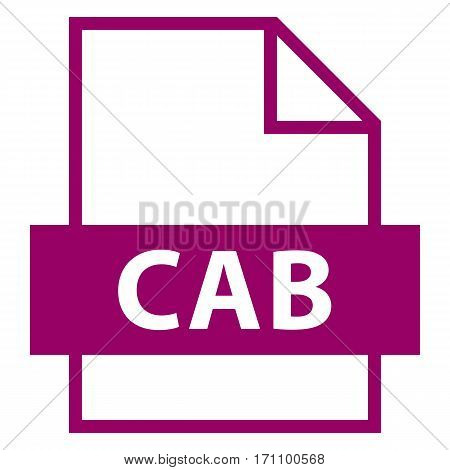 Use it in all your designs. Filename extension icon CAB Cabinet in flat style. Quick and easy recolorable shape. Vector illustration a graphic element.
