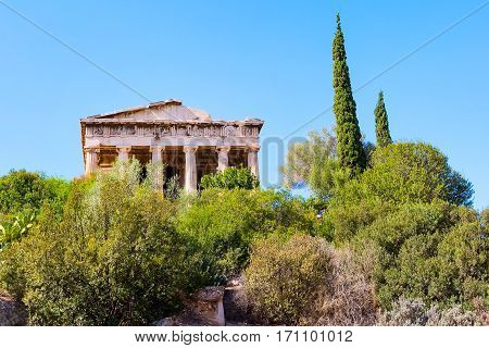 Temple of Hephaestus in Agora area within the Acropolis ruins, Greece