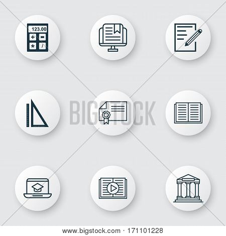 Set Of 9 Education Icons. Includes E-Study, College, Taped Book And Other Symbols. Beautiful Design Elements.