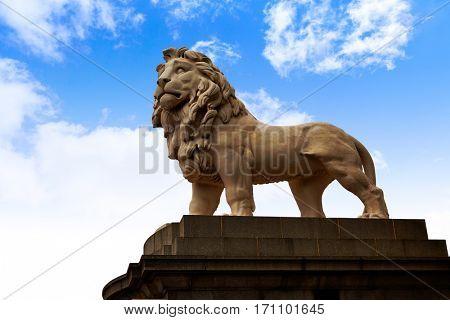 London south Bank Lion statue near Thames River